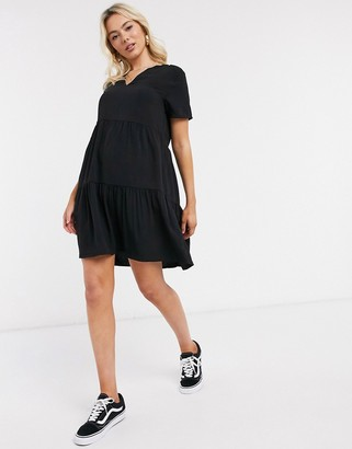 JDY layered dress in black