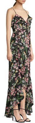 LIKELY Floral Wrap-Front Maxi Dress