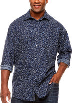 Claiborne Clbn Fashion Woven Long Sleeve Button-Front Shirt-Big and Tall