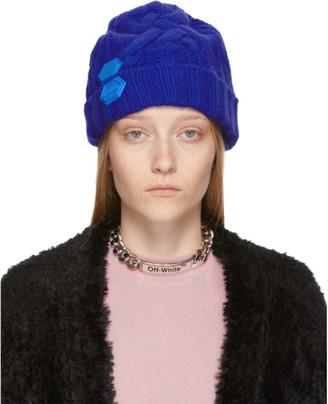 Off-White Blue Knit Pop Color Beanie