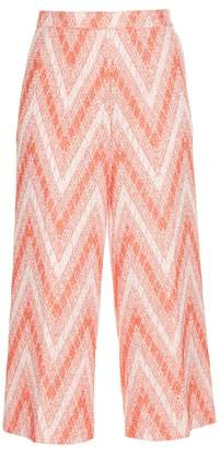 Rochas Chevron-woven Cropped Trousers - Womens - Red White