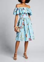 Oscar de la Renta Off-the-Shoulder Floral-Pattern Day Dress