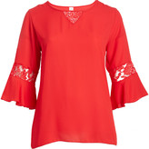 Seven Karat Women's Blouses red - Red Lace-Trim Bell Sleeve Top - Plus