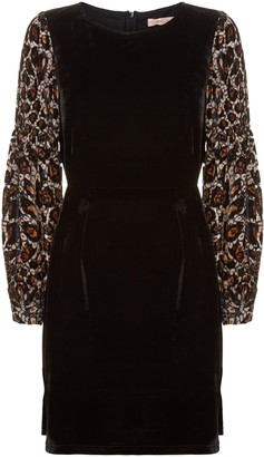 Traffic People Colby Mini Shift Dress In Black And Gold