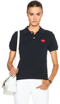 Comme des Garcons Cotton Polo with Red Emblem in Blue.