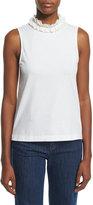 See by Chloe Sleeveless Cotton Ruffle-Collar Top, White