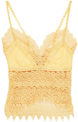 Charo Ruiz Ibiza Daba Crocheted Lace-paneled Cotton-blend Voile Top
