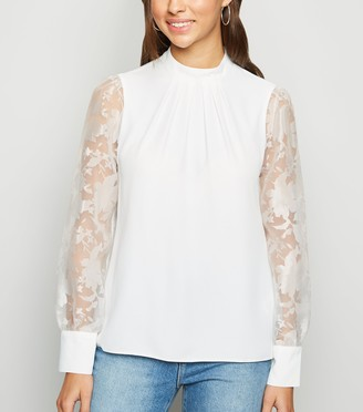 New Look High Neck Puff Organza Sleeve Blouse