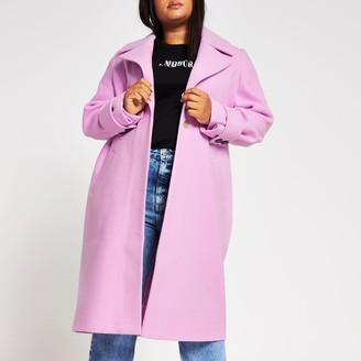 River Island Womens Plus Pink cuff detail coat