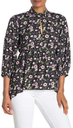 Anna Sui Floating Flowers Sharkbite Hem Blouse