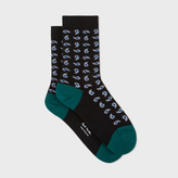 Paul Smith Women's Black Glittered Paisley Socks