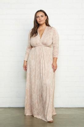 White Label Long Sleeve Full Length Caftan Dress - Plus Size