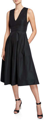 Narciso Rodriguez Empire-Waist Taffeta Midi Dress