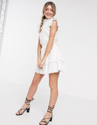 Cleobella versailles high neck frilly mini dress in white