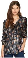 Bishop + Young Pleated Velvet Button Up Women's Clothing