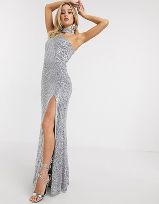 Goddiva one shoulder sequin maxi dress with thigh split and choker detail in silver