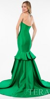 Terani Couture Illusion Beaded Ruffle Column Evening Dress