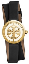 Tory Burch Reva Double-Wrap Watch, Black Leather/Gold-Tone, 28 Mm
