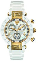 Versace Women's 92CCP11D497 S001 Reve Yellow-Gold Ceramic Chronograph Watch with White Rubber Band