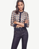 Ann Taylor Sequin Houndstooth Cropped Ann Cardigan