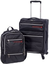 "Air Canada 2 Piece 18"" Spinner Wheels Carry On Luggage and laptop Back Pack Set"