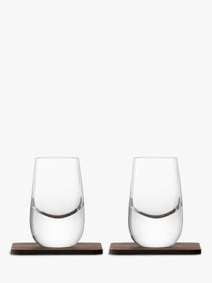 LSA International Whisky Shot Glass with Coaster, Set of 2, 80ml, Clear