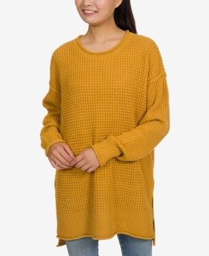 Hippie Rose Juniors' Thermal-Stitch Tunic Sweater