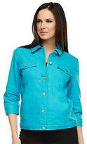 As Is Denim & Co. 3/4 Sleeve Colored Denim Jean Jacket