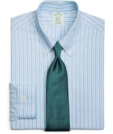 Brooks Brothers Supima® Cotton Non-Iron Extra-Slim Fit Button-Down Broadcloth Alternating Sidewheeler Stripe Dress Shirt