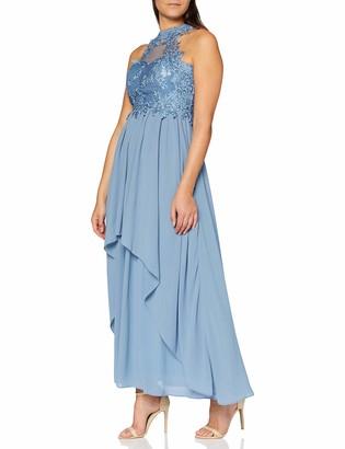 APART Fashion Women's Apart bezauberndes Damen Kleid Abendkleid amerikanischer Ausschnitt Oberteil aus Spitze und Mesh weiter Chiffonrock Special Occasion Dress