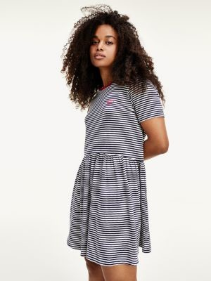 Tommy Hilfiger Logo Embroidery Stripe T-Shirt Dress