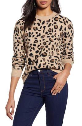 Halogen Leopard Spot Crewneck Pullover