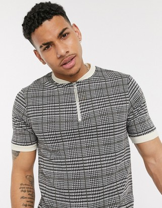 Topman baseball polo with check in grey & brown