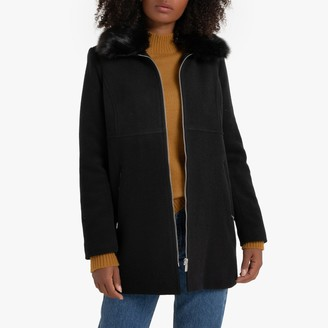 La Redoute Collections Wool Mix Coat with Faux Fur Collar and Pockets