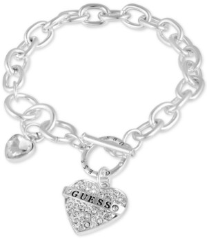 GUESS Silver-Tone Crystal Logo Heart Charm Link Bracelet
