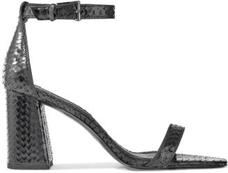 Alice + Olivia Lillian Metallic Snake-effect Leather Sandals