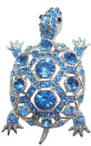 T&T Jewelry TTjewelry New Gorgeous Blue Turtle Silver Tone Brooch Pin Rhinestone Crystal Tortoise