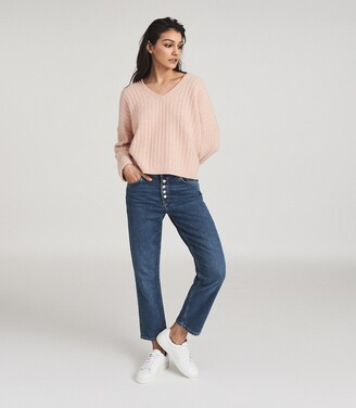 Reiss Nina - Wool Cashmere Blend V-neck Jumper in Blush