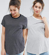 Asos Easy T-Shirt In Stripe 2 Pack