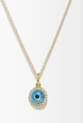 Ileana Makri Diamond, Quartz & 18kt Gold Mati Evil-eye Necklace - Blue Gold