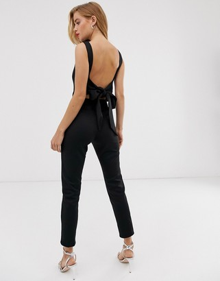 True Violet plunge back jumpsuit with bow detail