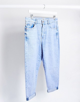 New Look waist enhance mom jeans in bleach light wash