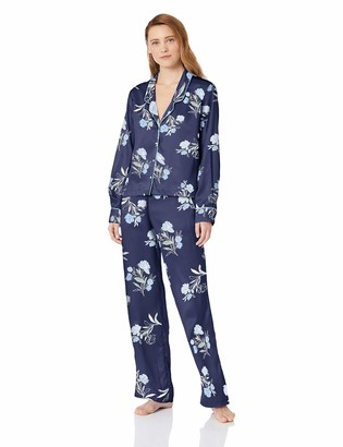 Splendid Women's Button Up Long Sleeve Top and Bottom Satin Pajama Set Pj