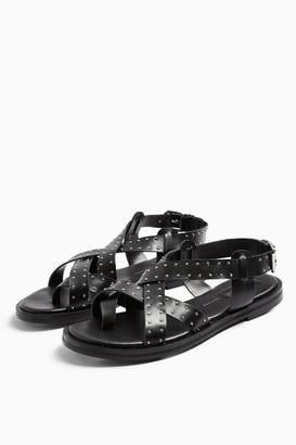 Topshop WIDE FIT PAIGE Black Leather Sandals