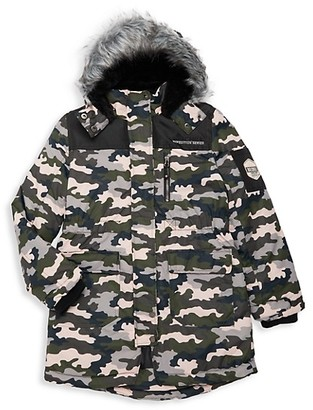 Big Chill Girl's Camo-Print Faux Fur-Trim Faux Shearling-Lined Jacket