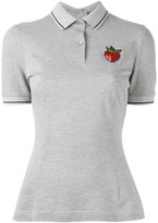 Dolce & Gabbana sequin strawberry patch polo shirt - women - Cotton/Polyamide/Viscose - 40
