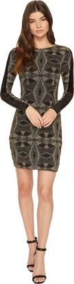Aidan Mattox Aidan Women's Long Sleeve Geometric Metallic Knit Cocktail Dress