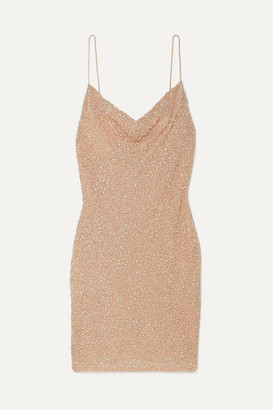 Alice + Olivia Harmie Sequined Stretch-tulle Mini Dress - Gold