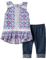 Little Lass Baby Girl Floral Gauze Tunic & Capri Jeggings Set