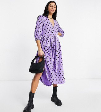 Asos Tall ASOS DESIGN Tall midi smock dress with wrap top in purple and black spot